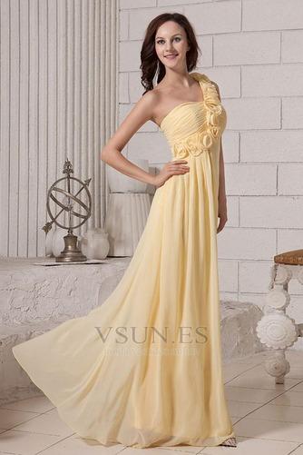 Vestido de dama de honor Otoño Fuera de casa Un sólo hombro Imperio Un tirante con flor - Página 4