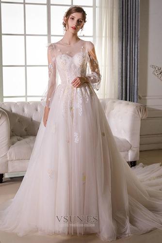 Vestido de novia Sala largo Barco Manga larga tul Natural - Página 5