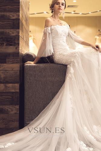 Vestido de novia Natural La mitad de manga Escote con Hombros caídos - Página 4