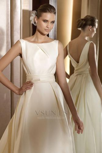 Vestido de novia vintage Diosa Barco Sin mangas Otoño Marfil - Página 3