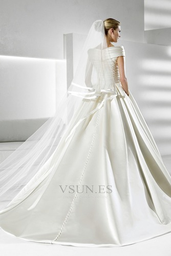 Vestido de novia Volantes Adorno Satén Iglesia Natural Tallas pequeñas - Página 2