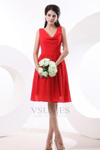 Vestido de dama de honor Volantes Adorno Escote en V Rojo Oscilación Hasta la Rodilla - Página 1