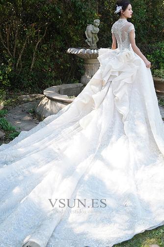Vestido de novia Invierno Iglesia Formal Manga corta Corpiño Acentuado con Perla - Página 2