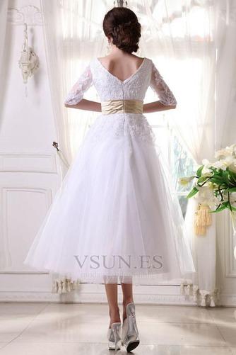 Vestido de novia Fuera de casa La mitad de manga Cremallera tul Natural - Página 9