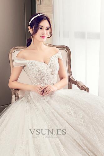 Vestido de novia Natural Encaje primavera Cordón tul Manga corta - Página 5