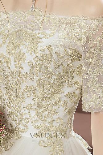 Vestido de novia Capa de encaje Corte-A Cordón Manga corta Natural Cola Catedral - Página 5