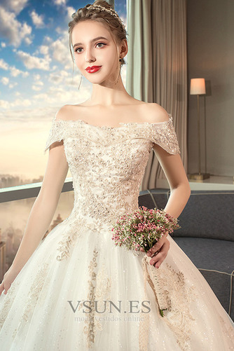 Vestido de novia largo Reloj de Arena Sala Apliques Cordón Invierno - Página 3