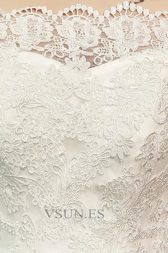 Vestido de novia Natural La mitad de manga Cordón Arco Acentuado Corte Sirena - Página 5