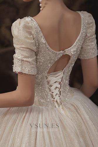Vestido de novia Corpiño Acentuado con Perla Cordón Abalorio Camiseta - Página 6