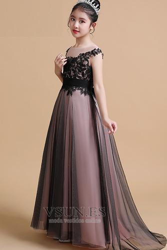 Vestido niña ceremonia Elegante Falta Natural Capa de encaje Corte-A Encaje - Página 4