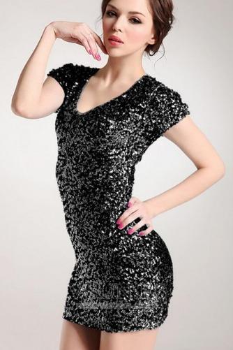 Vestido de fiesta sexy Corte Recto Cremallera Estrellado Camiseta Falta - Página 4