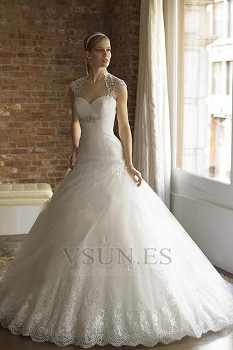 Vestido de novia Encaje primavera Blanco Espalda con ojo de cerradura - Página 1