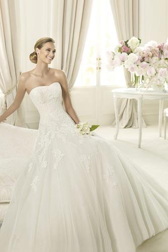 Vestido de novia Formal Sin mangas Encaje tul Escote Corazón Corte-A - Página 3