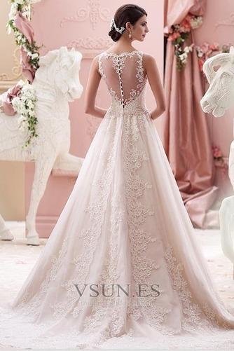 Vestido de novia Alto cubierto Joya Corte-A Cinturón de cuentas Apliques - Página 2