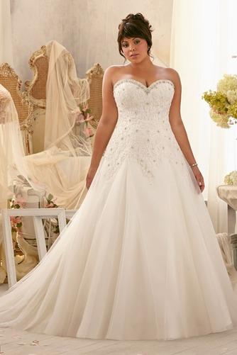 Vestido de novia Abalorio Escote Corazón Iglesia largo Cordón Natural - Página 1