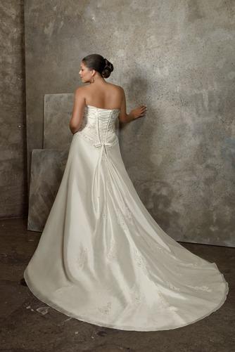 Vestido de novia Apliques Sin mangas Cola Capilla Escote Corazón Satén - Página 3