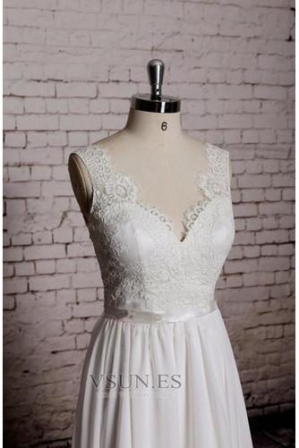 Vestido de novia Playa Apliques Sin mangas Corte-A Escote en V Encaje - Página 3