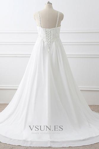 Vestido de novia Imperio largo Fuera de casa Sin mangas Escote de Tirantes Espaguetis - Página 4