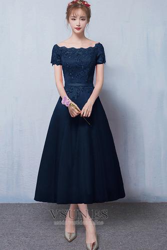 Vestido de dama de honor Apliques Capa de encaje Falta Encaje Manga corta Natural - Página 5