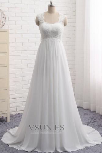 Vestido de novia Encaje Escote Cuadrado Gasa Sin mangas Imperio Natural - Página 1