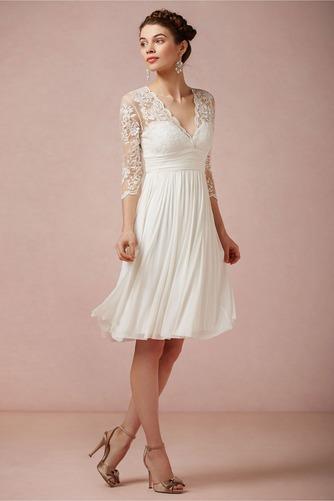 Vestido de novia Imperio Baja escote en V Glamouroso Gasa Verano Manga de longitud 3/4 - Página 1