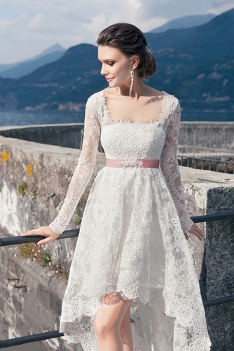 Vestido de novia Cordón Verano Alto Bajo Escote Cuadrado Manga larga - Página 3