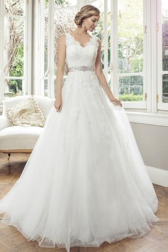 Vestido de novia Corte princesa Escote en V Espalda con ojo de cerradura - Página 1