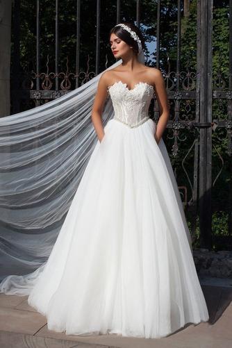 Vestido de novia Cristal Otoño largo Corte-A Vasco Escote Corazón - Página 1