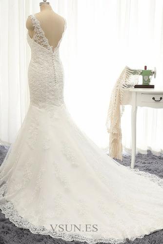 Vestido de novia Capa de encaje Cremallera Barco Botón largo vendimia - Página 3