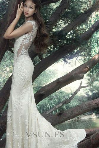 Vestido de novia Tallas pequeñas Pura espalda Sin mangas Natural Verano - Página 3