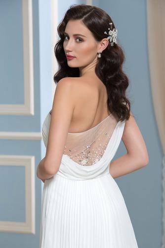 Vestido de novia Rectángulo Imperio Un sólo hombro Blusa plisada Imperio Cintura - Página 5