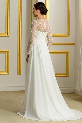 Vestido de novia Elegante Corte-A Natural largo Otoño Corpiño Acentuado con Perla - Página 3