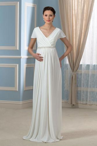 Vestido de novia Embarazadas Cola Barriba Imperio Cintura Espalda Descubierta - Página 1