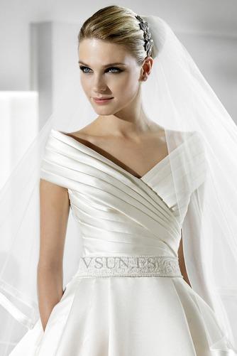 Vestido de novia Volantes Adorno Satén Iglesia Natural Tallas pequeñas - Página 4