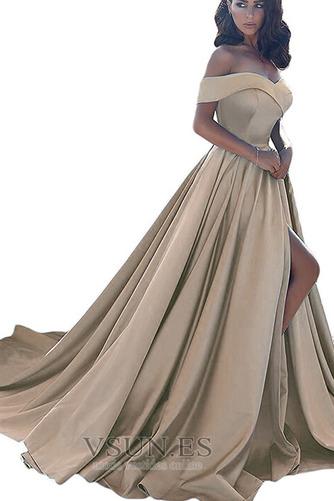 Vestido de noche largo Corte-A Abertura en el muslo Escote con Hombros caídos - Página 9