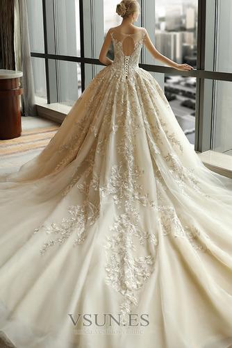 Vestido de novia Escote redondo Sin mangas Corte-A Natural Otoño Cordón - Página 2