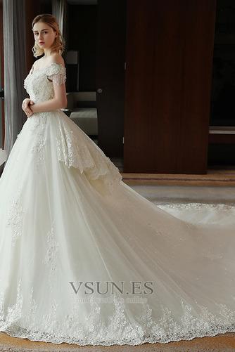 Vestido de novia Satén Escote con Hombros caídos Sala primavera Manga corta - Página 3