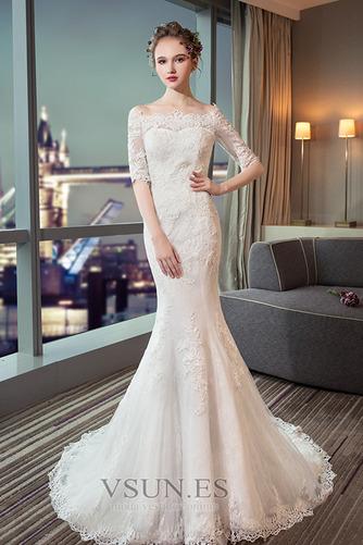 Vestido de novia Capa de encaje Cordón Abalorio Escote con Hombros caídos - Página 3