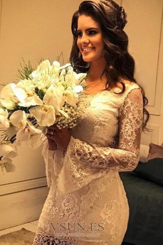 Vestido de novia largo Capa de encaje Corte Sirena Espalda con ojo de cerradura - Página 3