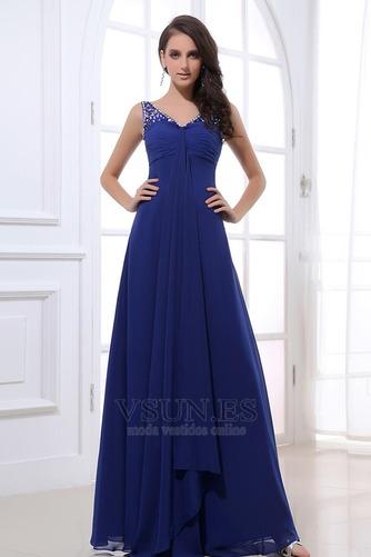 Vestido de noche azul real descubierto Plisado fantasía Escote en V - Página 1