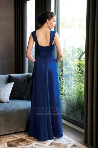 Vestido de dama de honor Tiras anchas Blusa plisada Hasta el suelo azul marino - Página 2