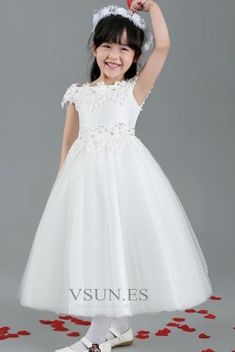 Vestido niña ceremonia Encaje Falta Natural Corte-A Manga corta Satén - Página 5