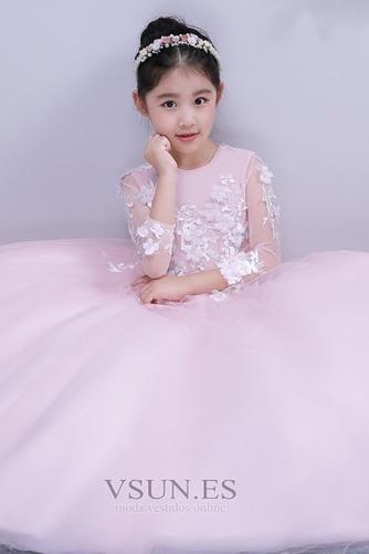 Vestido niña ceremonia Formal Hasta el Tobillo Joya tul Apliques Corte-A - Página 4