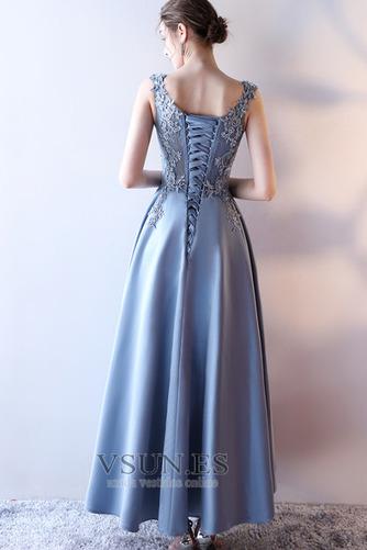 Vestido de fiesta Elegante Escote en V Abalorio Corte-A Satén Hasta el Tobillo - Página 2