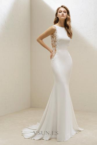 Vestido de novia Sencillo Barco Falta Espalda con ojo de cerradura Playa - Página 1