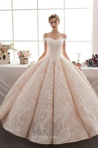 Vestido de novia Natural Corte-A Escote con Hombros caídos Pera Capa de encaje - Página 4