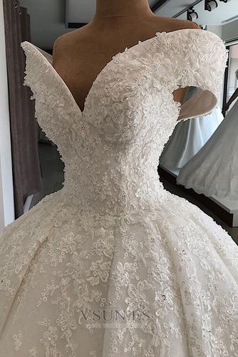 Vestido de novia Cordón Drapeado Otoño Reloj de Arena Capa de encaje - Página 3