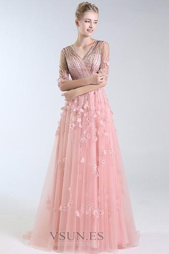 Vestido de fiesta Escote en V Elegante Corpiño Acentuado con Perla Natural - Página 4