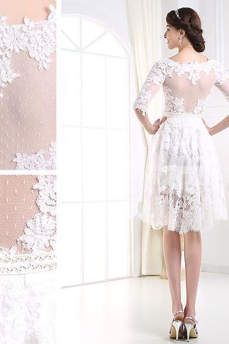 Vestido de novia Encaje Alto cubierto Manga de longitud 3/4 Corto Mangas Illusion - Página 2