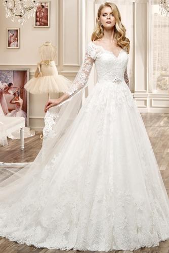 Vestido de novia Espalda medio descubierto Bola Natural Apliques Sala - Página 3